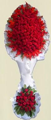 Çift katlı kıpkırmızı düğün açılış çiçeği  Konya çiçek , çiçekçi , çiçekçilik
