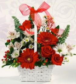 Karışık rengarenk mevsim çiçek sepeti  Konya çiçek yolla , çiçek gönder , çiçekçi