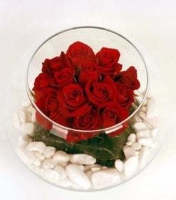 Cam fanusta 11 adet kırmızı gül  Konya 14 şubat sevgililer günü çiçek