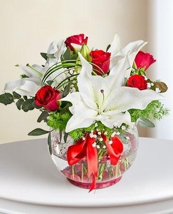 Fanus Vazoda 2 Lilyum ve 5 Gül Dansı  Konya 14 şubat sevgililer günü çiçek