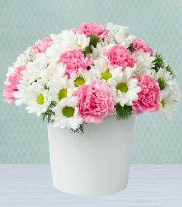 Seramik vazoda papatya ve kır çiçekleri  Konya güvenli kaliteli hızlı çiçek