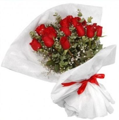 9 adet kırmızı gül buketi  Konya kaliteli taze ve ucuz çiçekler