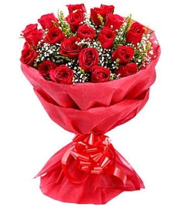 21 adet kırmızı gülden modern buket  Konya 14 şubat sevgililer günü çiçek