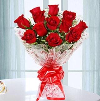 11 adet kırmızı gülden görsel şık buket  Konya çiçek servisi , çiçekçi adresleri