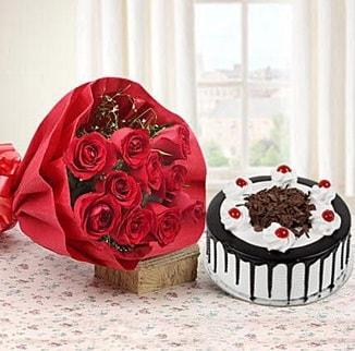 12 adet kırmızı gül 4 kişilik yaş pasta  Konya çiçek online çiçek siparişi
