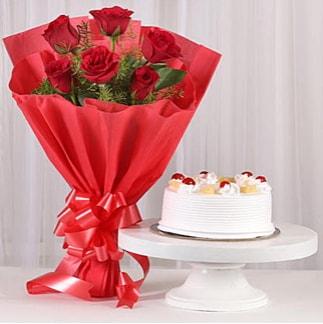 6 Kırmızı gül ve 4 kişilik yaş pasta  Konya çiçek online çiçek siparişi