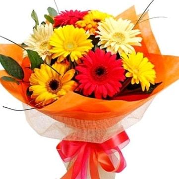 9 adet karışık gerbera buketi  Konya çiçek online çiçek siparişi