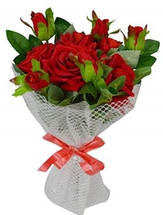 9 adet kırmızı gülden sade şık buket  Konya anneler günü çiçek yolla