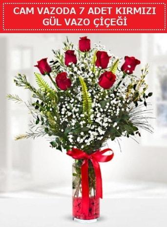 Cam vazoda 7 adet kırmızı gül çiçeği  Konya cicekciler , cicek siparisi