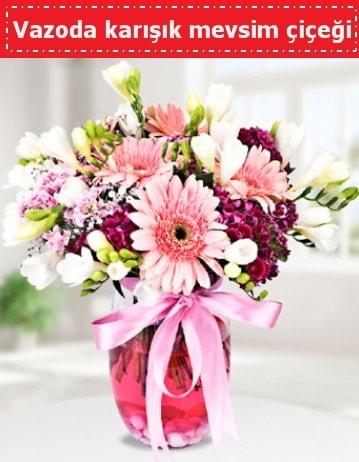 Vazoda karışık mevsim çiçeği  Konya çiçek online çiçek siparişi