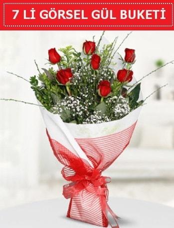 7 adet kırmızı gül buketi Aşk budur  Konya hediye sevgilime hediye çiçek