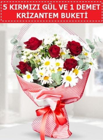5 adet kırmızı gül ve krizantem buketi  Konya hediye sevgilime hediye çiçek