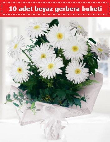 10 Adet beyaz gerbera buketi  Konya çiçek online çiçek siparişi