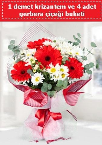 Krizantem ve Gerbera Buketi  Konya güvenli kaliteli hızlı çiçek