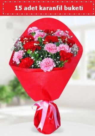 15 adet karanfilden hazırlanmış buket  Konya çiçek gönderme