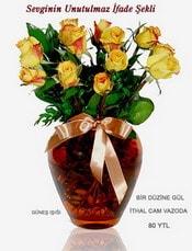 Konya yurtiçi ve yurtdışı çiçek siparişi  mika yada Cam vazoda 12 adet sari gül